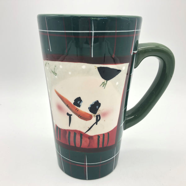 Sakura Snowmen Portraits Fiddlestix Coffee Mug Earthenware Green Plaid