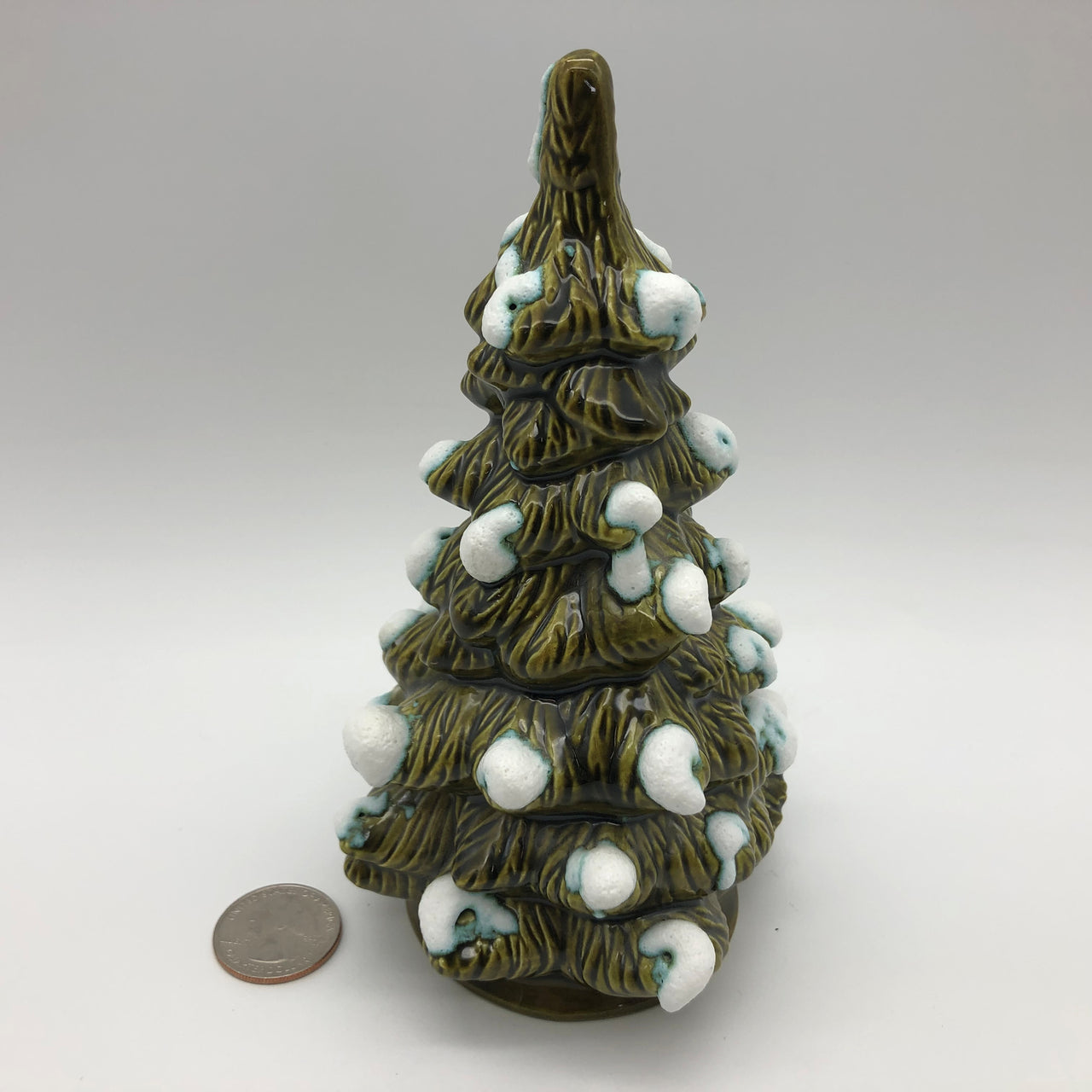 "Byron Molds Vintage Green Christmas Tree with Snow 1981 6-1/2"" Tall"