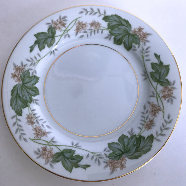 Vintage Noritake Daphne 5312 Bread Plate Tan Flowers Green Silver Leaves Gold