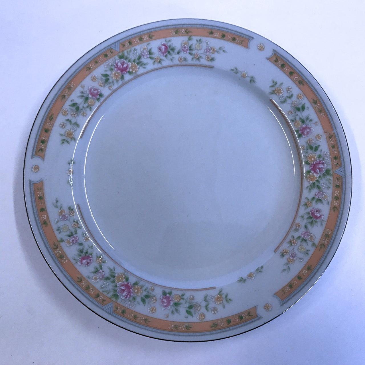 Vintage Kentfield and Sawyer Bread Plate Hand Decorated Flowers Silver Accent