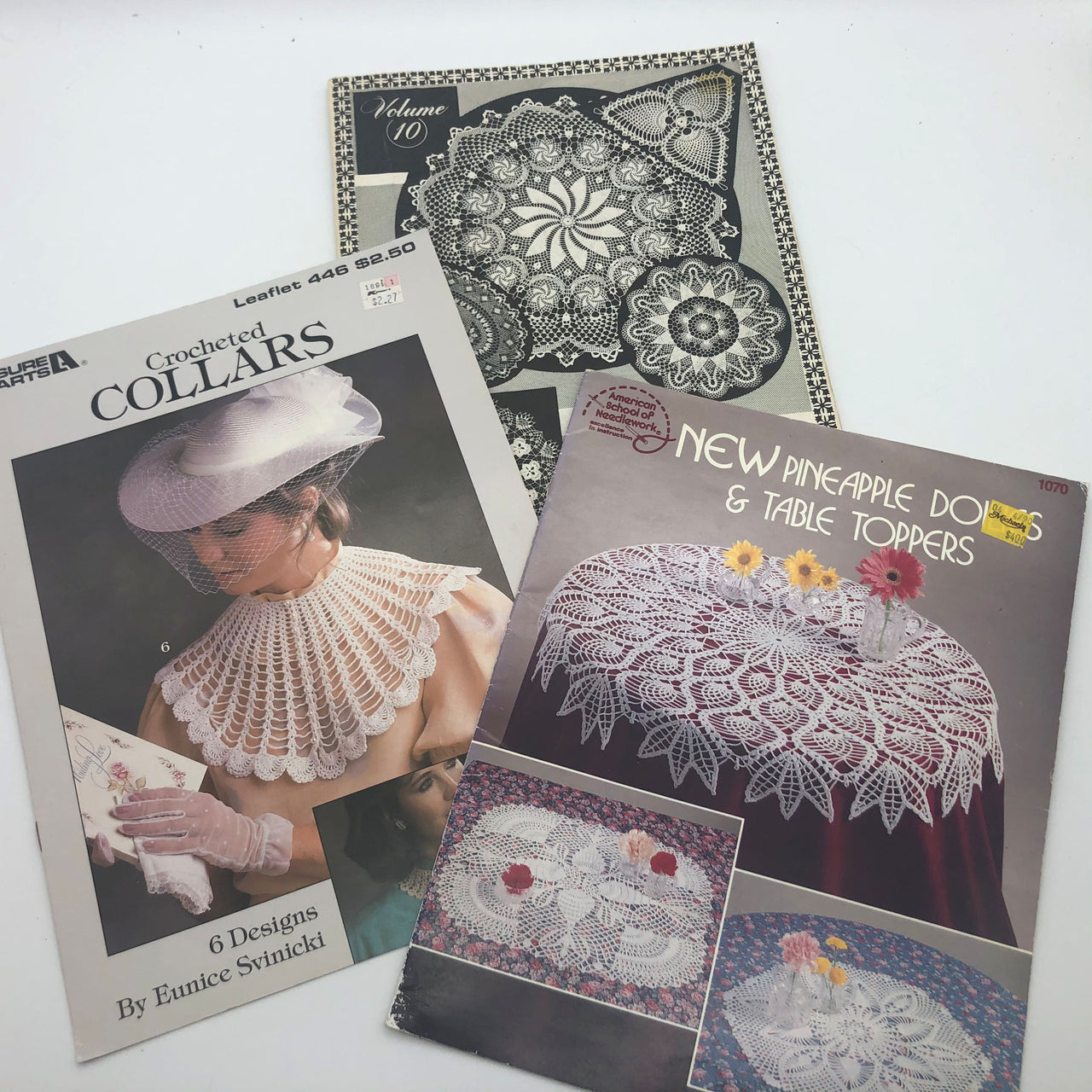 3 Crochet Books with Design Patterns Pineapple Doilies Table Toppers Collars