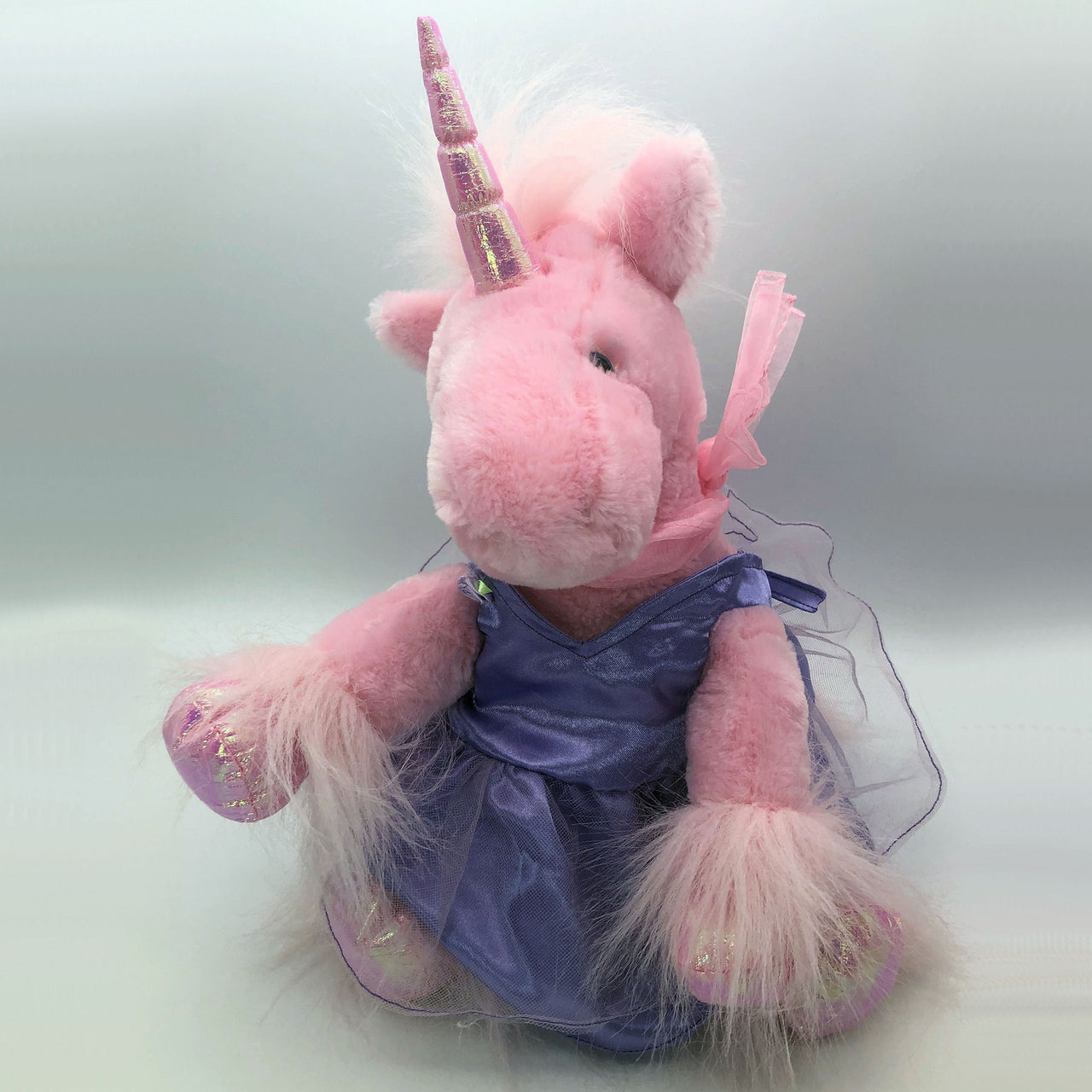 "Plush Stuffed Unicorn Toy with Purple Satin Dress 11"" Tall"