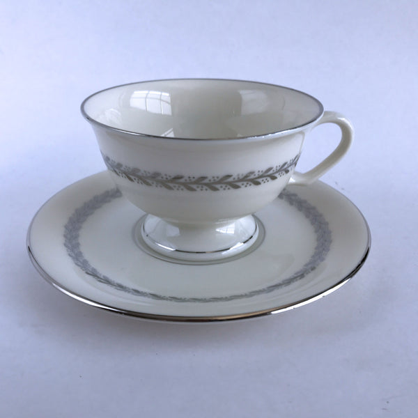 Pickard China Silver Wreath 1098 Footed Cup and Saucer Ivory Silver Leaves Alfie's Treasures 1