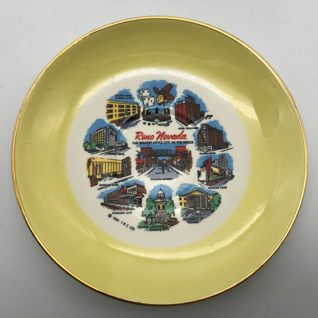 Vintage Reno Nevada Souvenir Plate Holiday Golden Mapes Hotel 1961 I.K.C. Co.