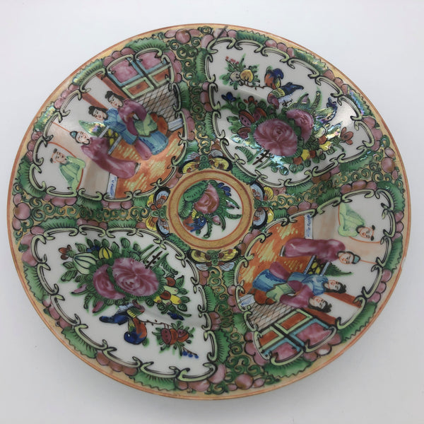 "1920's Rose Medallion Round Bowl Hand Painted China 7-1/4"" Chipped"