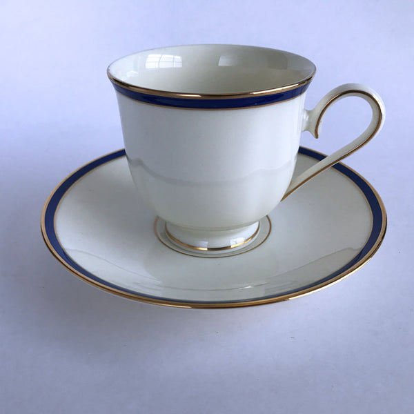 Lenox Urban Twilight Cup and Saucer Blue Band Gold Trim