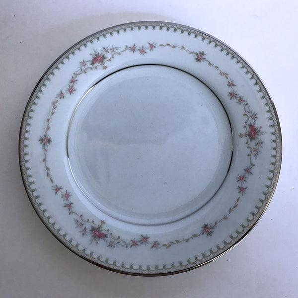 Vintage Noritake Fairmont 6102 Bread Plate Pink Flower Green Dots Platinum Trim
