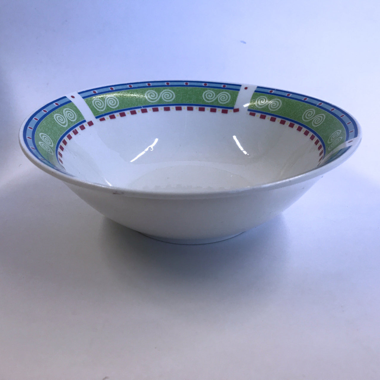 Vintage Gibson Regina Soup Cereal Bowl Swirls Green Blue Red