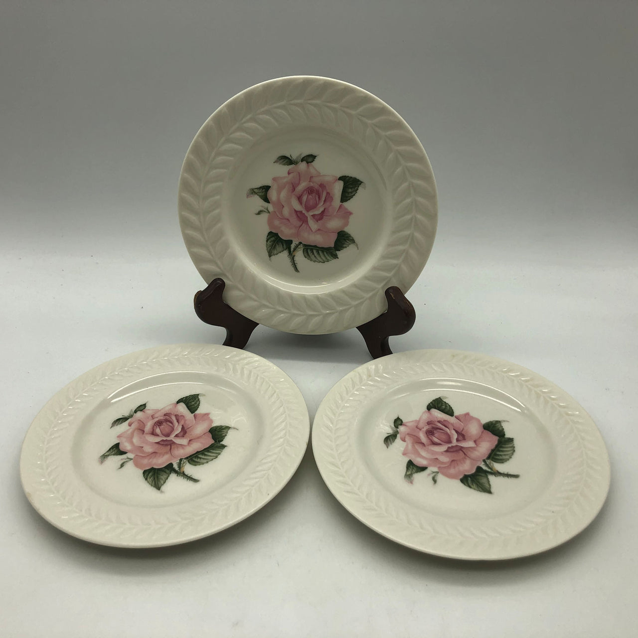3 Theodore Haviland Regents Park Rose Bread and Butter Plates 6-1/2""