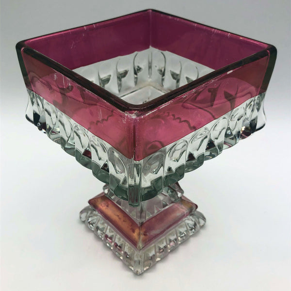 "Pressed Ruby Clear Glass Square Compote 6-3/4"" Tall"
