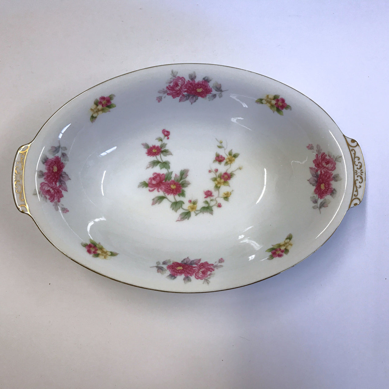 Cherry China Charmaine Oval Serving Bowl with Handles
