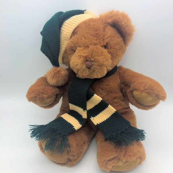 "Brown Teddy Bear with Green Hat and Scarf 15"" Tall"