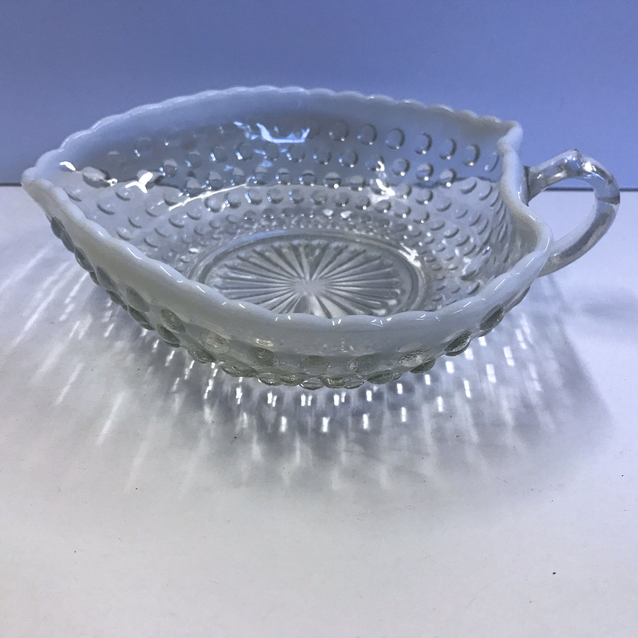 Vintage Anchor Hocking Moonstone Opalescent Heart Hobnail Handle Glass Dish