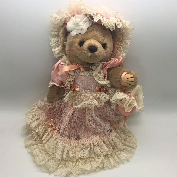 "Jointed Teddy Bear in Pink Dress Lace Ruffles 15"" Tall Soouthern Belle"