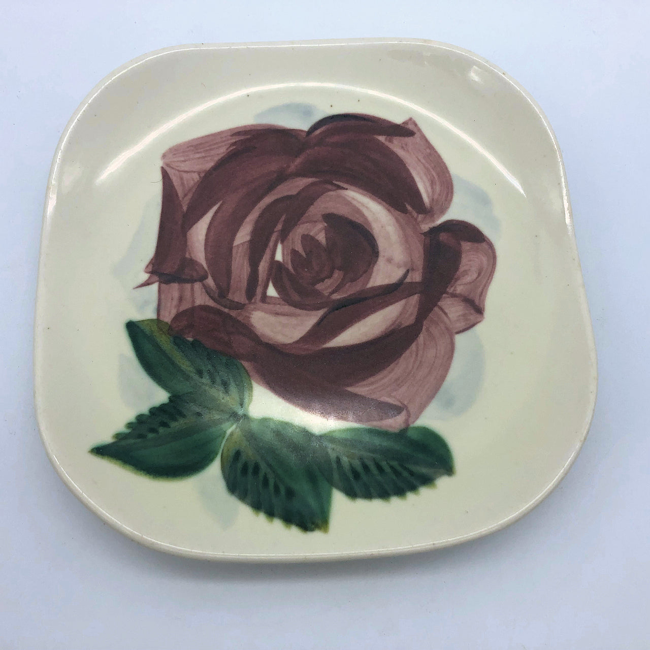 Vintage Red Wing Pottery Lexington Hand Painted Bread Plate Flower