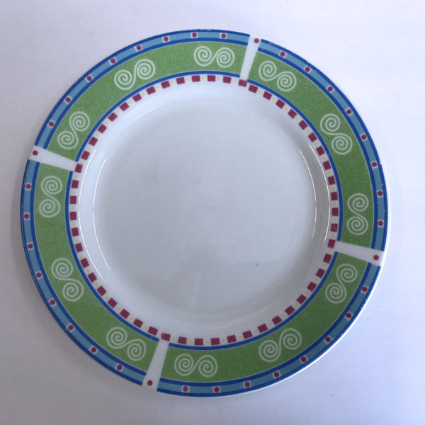 Vintage Gibson Regina Bread Side Plate Swirls Green Blue Red