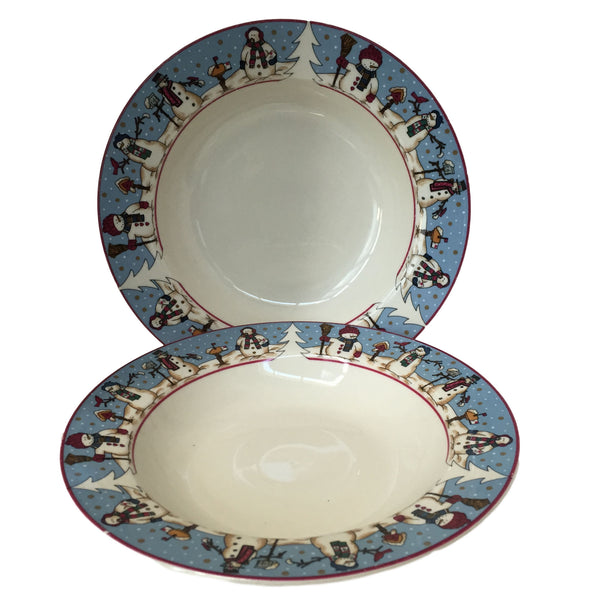 Cambridge Potteries Snowman Serenade Two Rimmed Bowls
