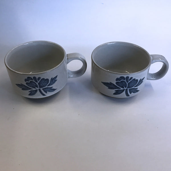 "Vintage Midwinter Ltd 2 Coffee Tea Cups Blue Print Japan 2.5"" Tall"
