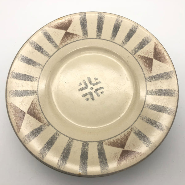 Sango Canyon 4890 Bread Plate Tan Brown Gray Geometric Design 6-3/8""