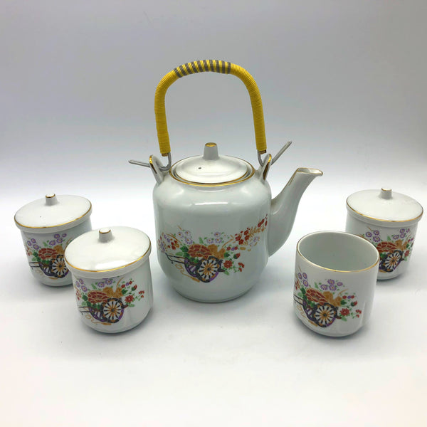National Fine China Tea Serving Set Teapot with 4 Cups Flowers