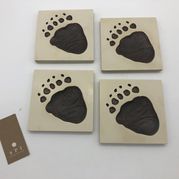 "Bear Paw Imprint Coasters Ceramic 4"" Square Set of 4"