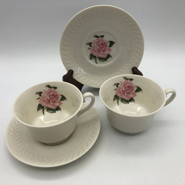2 Theodore Haviland Regents Park Rose Cups and Saucers Sets