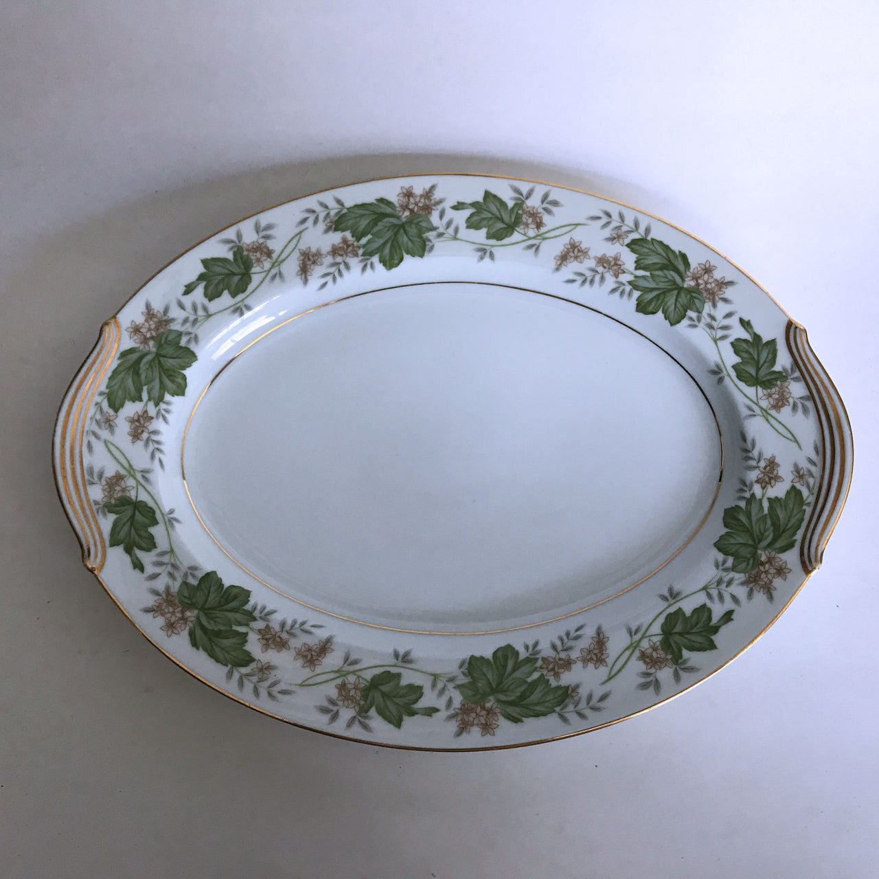 Vintage Noritake Daphne 5312 Platter Tan Flowers Green Silver Leaves Gold