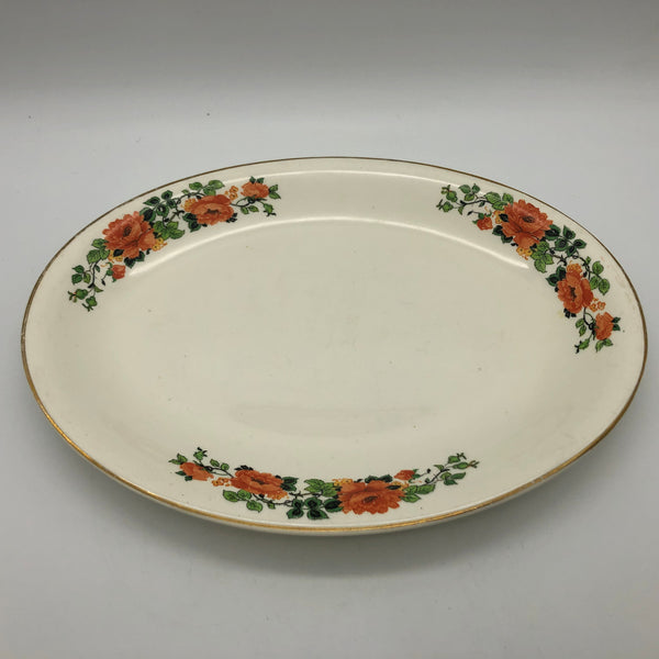 Vintage National Ivory Oval Serving Platter with Flowers Roses Gold Trim