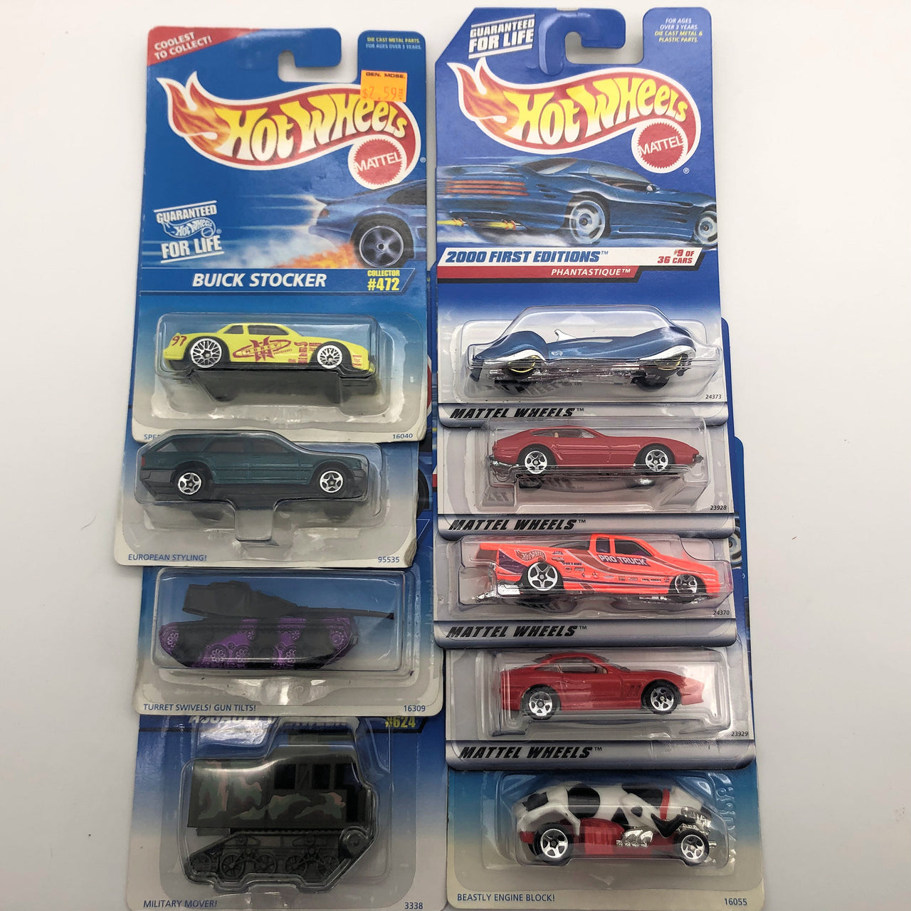 9 Assorted Mattel Hot Wheels Cars Grizzlor Pro Stock Truck Tank Ferrari New