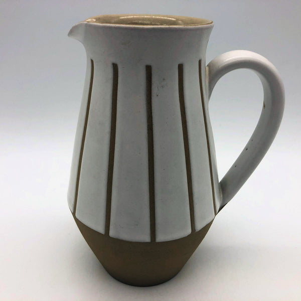 "Denby Gourmet White Tan Creamer Cream Pitcher 5-7/8"" Tall"