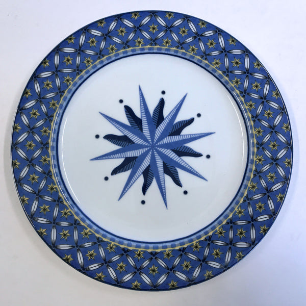 "Victoria & Beale Williamsburg 9026 Salad Plate Porcelain 7-3/4"" Blue Starburst"