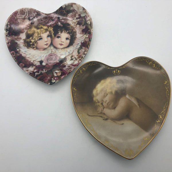 2 Heart Shaped Decorative Plates Cherubs Child Liberty & Peace Sweet Slumber