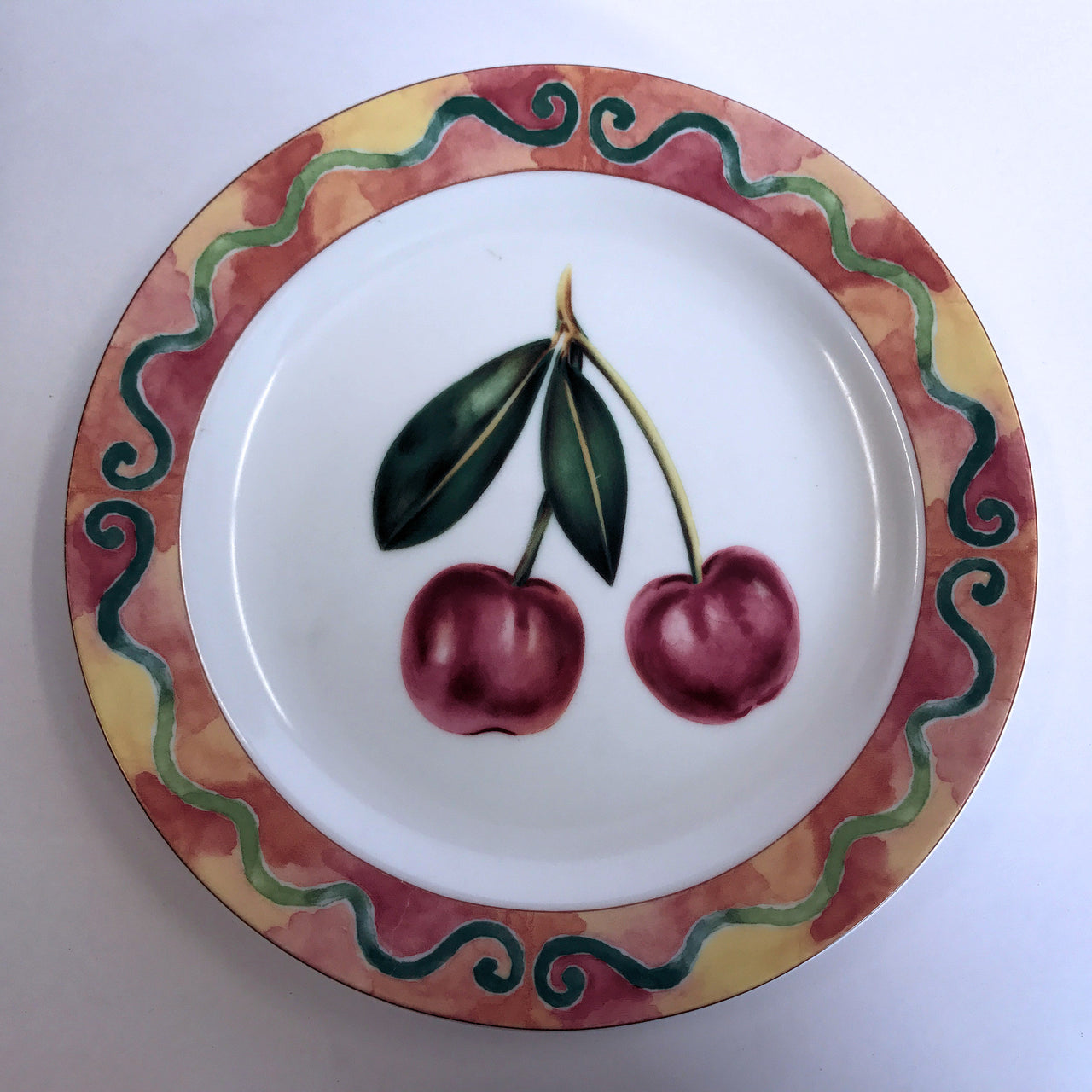 Epoch Somerville Cherry Salad Plate Green Scrolls