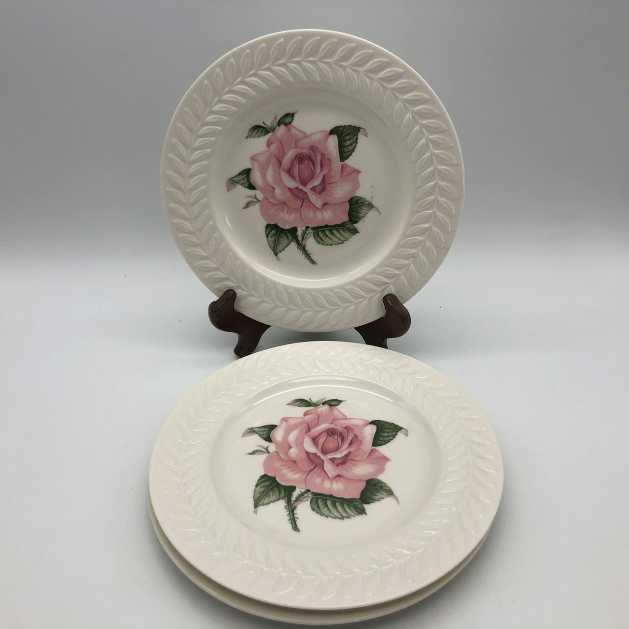 3 Theodore Haviland Regents Park Rose Salad Plates 8-1/8""