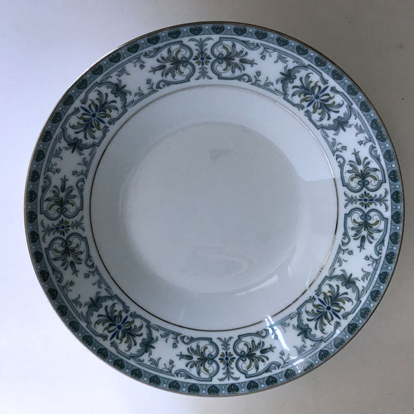 Vintage Noritake Burlington 2081 Soup Bowl Blue Feather Scroll Silver Trim