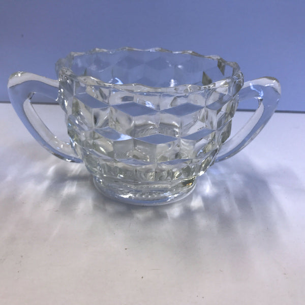 Jeannette Cube Open Sugar Bowl with Two 2 Handles 2-1/2""