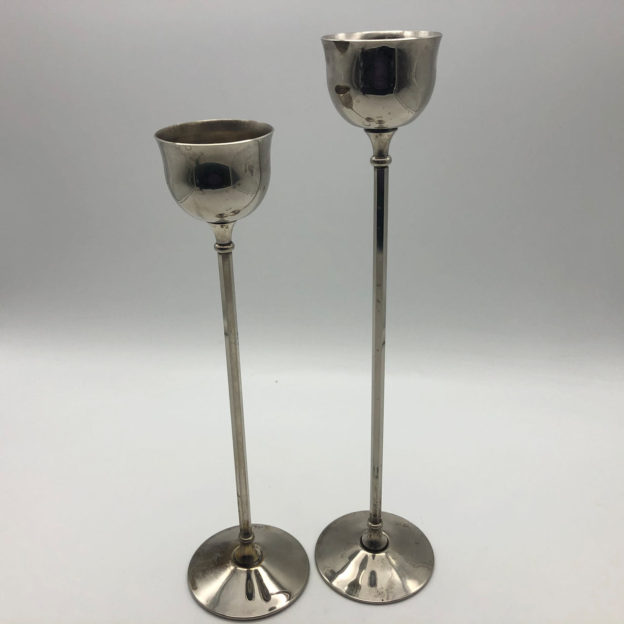 "Pair of WA Italy Silverplate Candle Holders 10"" and 11"""