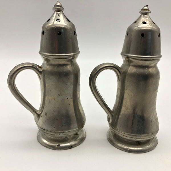 Vintage Quaker Genuine Pewter Salt and Pepper Shaker Set Stamped 2096