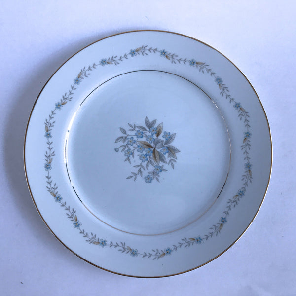 Symco China Cromwell 45/188 Dinner Plate Blue Flowers Gray Brown Leaves 10-1/4""