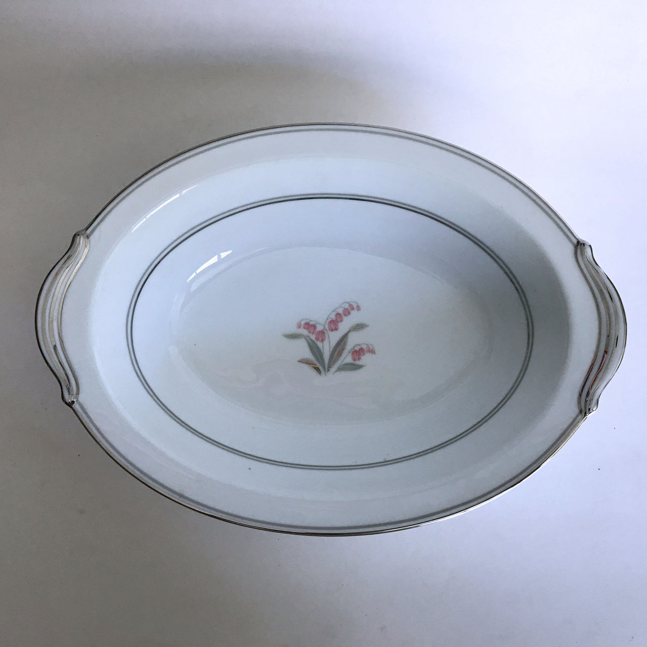 Vintage Noritake Crest 5421 Serving Bowl Pink Flower Green Silver Stems