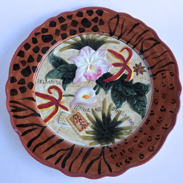 Decorative Plate Saint Tropez Beach Island Colorful Flowers Animal Print 10-1/4""