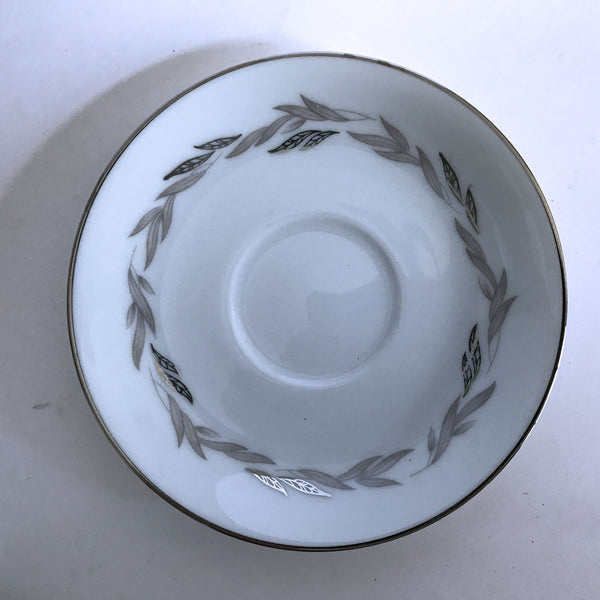 Vintage Noritake Graywood 6041 Demitasse Saucer Gray Platinum Leave Trim