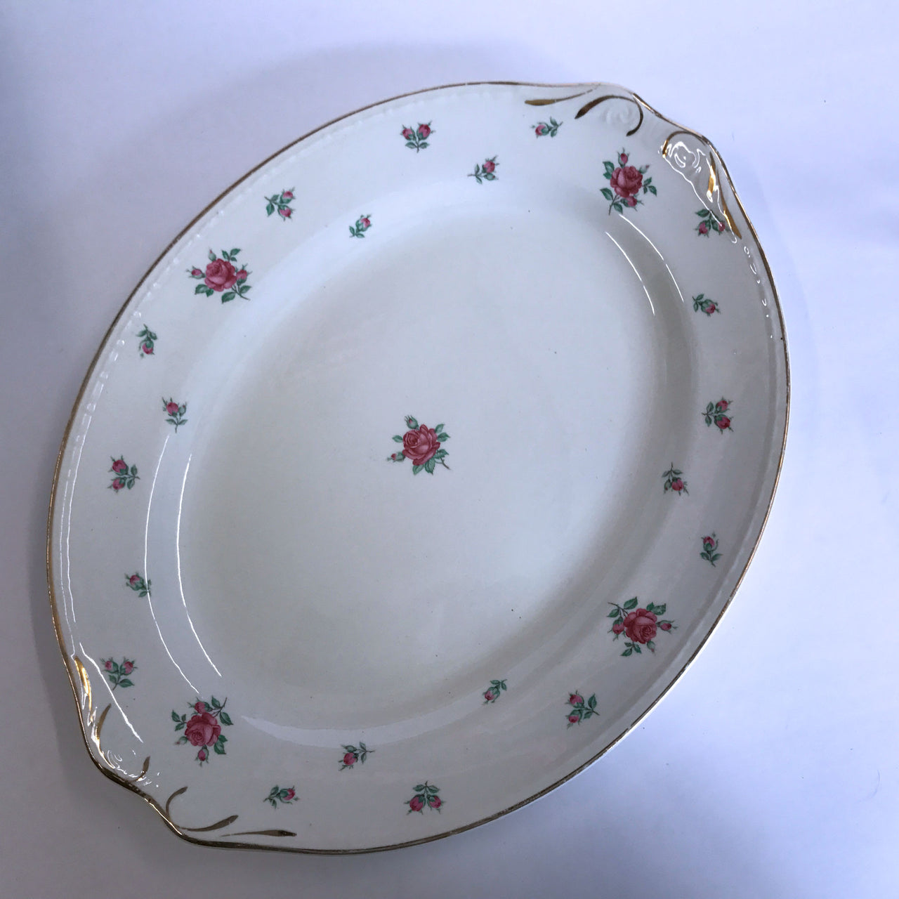 "Vintage Homer Laughlin Rambler Rose Oval Platter 12"" American Vogue"