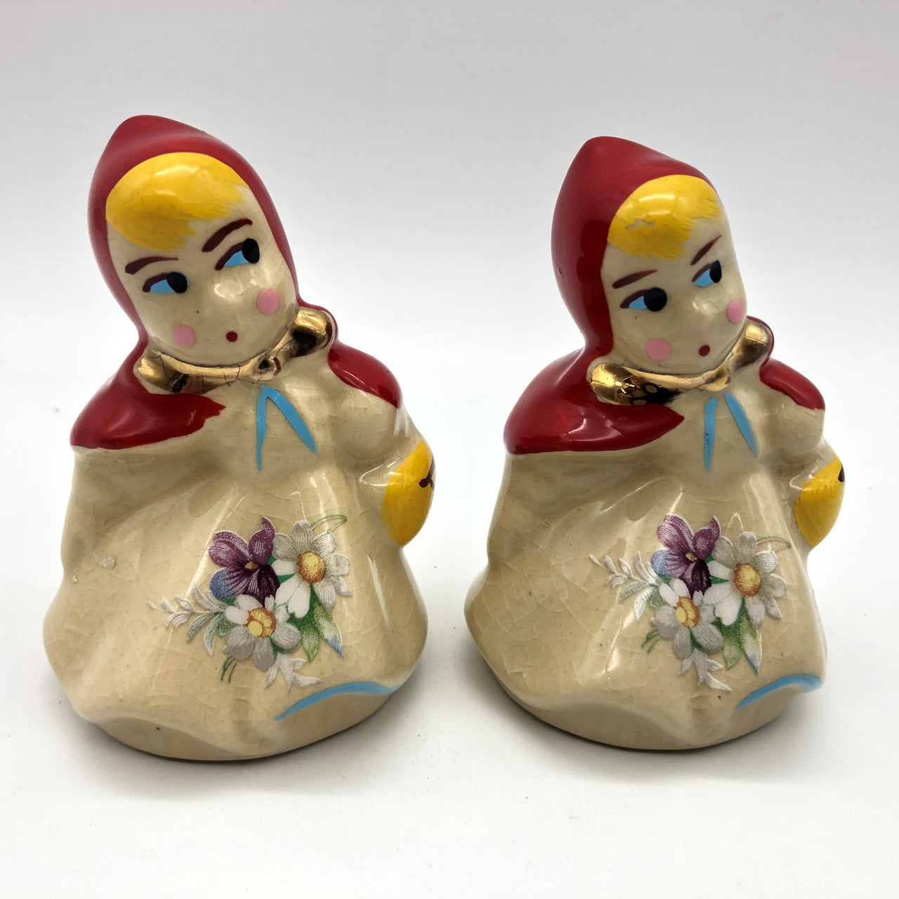 Vintage Little Red Riding Hood Salt and Pepper Shaker Set Girl Red Coat Basket