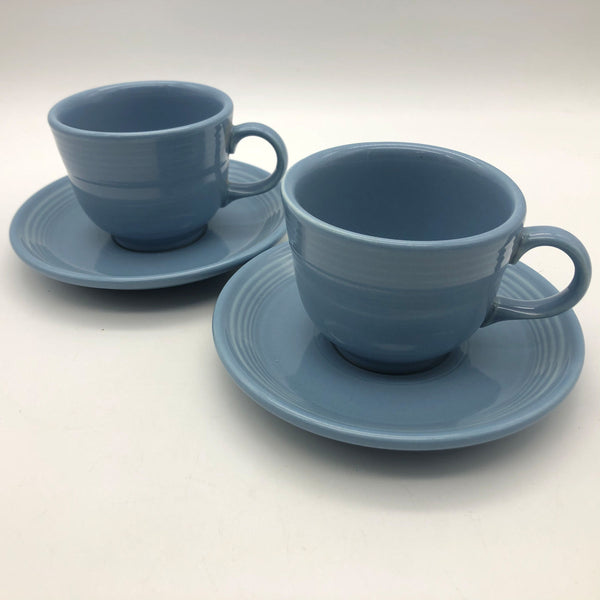Two Fiestaware Homer Laughlin Cup and Saucers Periwinkle Blue