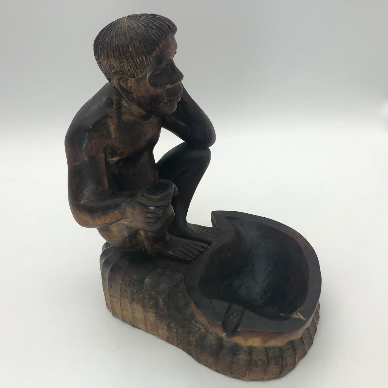 "Hand Carved Wood Tribal Man Sitting Holding Cup with Ashtray  8-3/4"" Tobacciana"