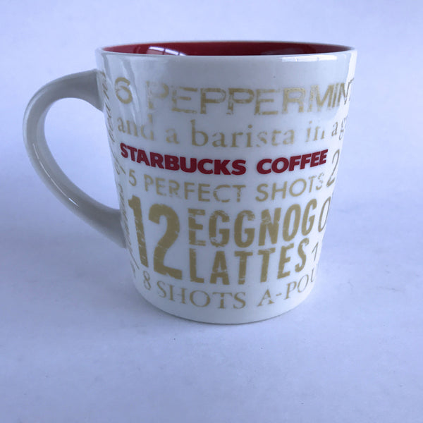 Starbucks Coffee Mug Cup 12 Days of Christmas White Gold Red 2008 14 oz Alfie's Treasures 1
