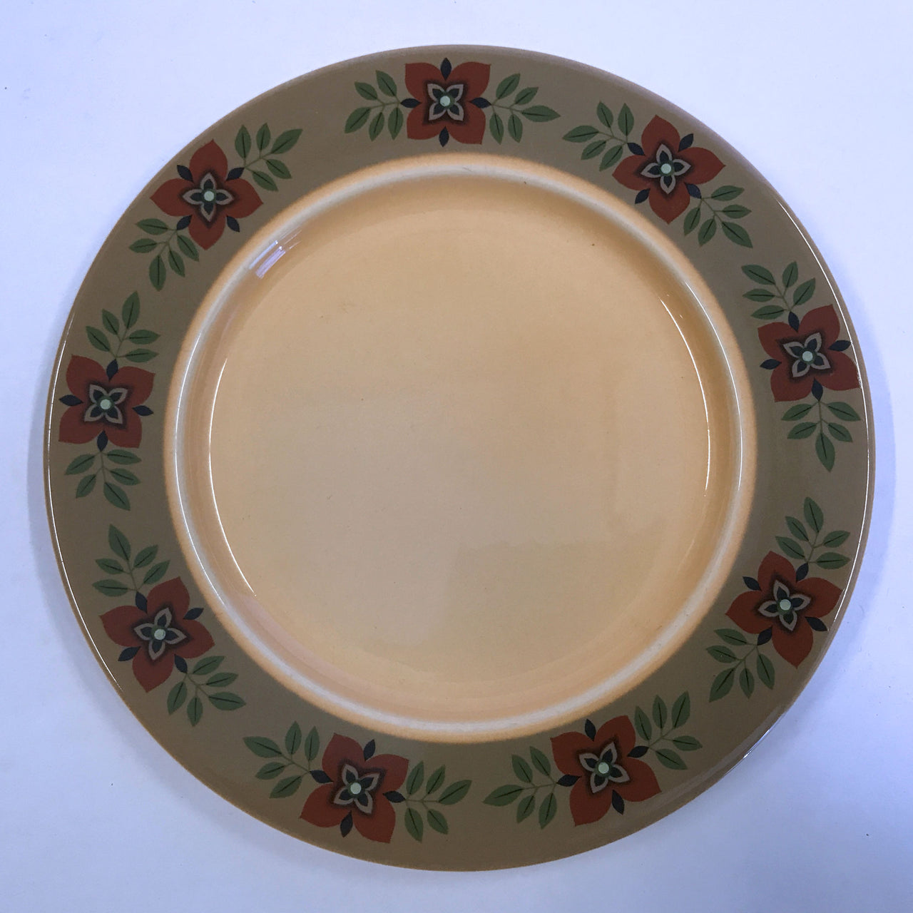 "Taylor Smith and Taylor Casa Madrid Salad Plate 8"" Rust Gray Flowers"