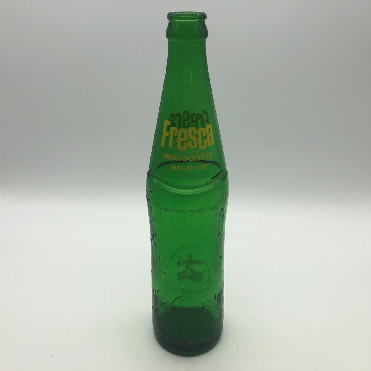 Fresca Soda 16 oz Green Dimpled Glass Bottle Coca-Cola Vintage