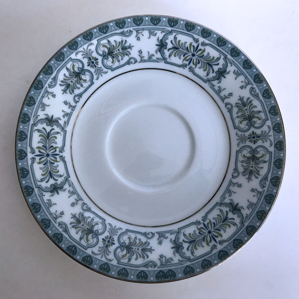 Vintage Noritake Burlington 2081 Saucer Blue Feather Scroll Silver Trim
